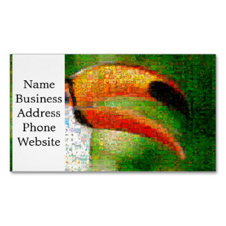 Toucan collage-toucan  art - collage art business card magnet