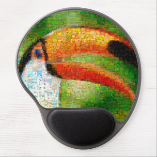 Toucan collage-toucan  art - collage art gel mouse pad
