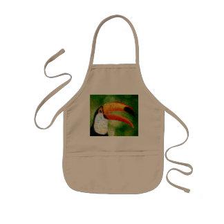 Toucan collage-toucan  art - collage art kids' apron