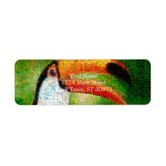 Toucan collage-toucan  art - collage art label