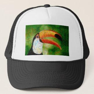 Toucan collage-toucan  art - collage art trucker hat