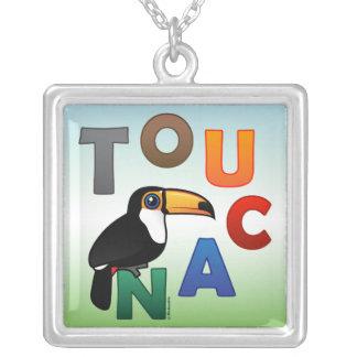 Toucan colorido collar plateado