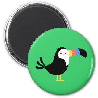 Toucan colorido imán redondo 5 cm