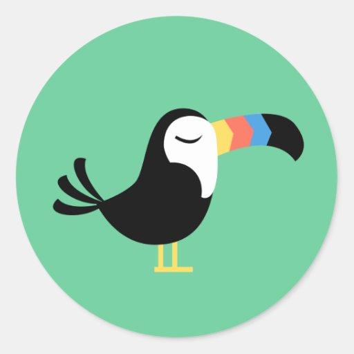 Toucan colorido pegatina redonda