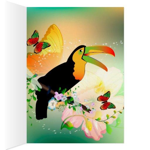 Toucan con las flores tarjeta