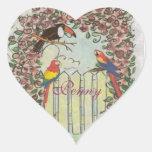 Toucan de encargo y loros en cenador subió valla pegatina en forma de corazón
