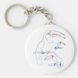 Toucan Drawing Basic Round Button Keychain