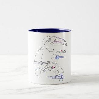 Toucan Drawing Two-Tone Coffee Mug