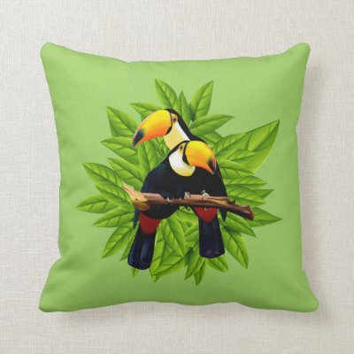 Toucan Duo Green Throw Pillow