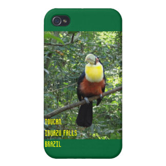 Toucan en el caso del iPhone de las cataratas del  iPhone 4 Funda