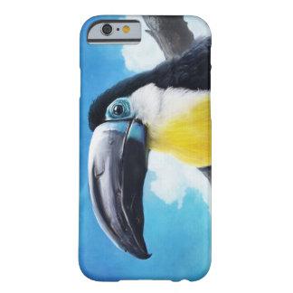 Toucan en la pintura tropical del pájaro del aire funda de iPhone 6 barely there