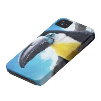 Toucan en la pintura tropical digital del pájaro Case-Mate iPhone 4 cobertura