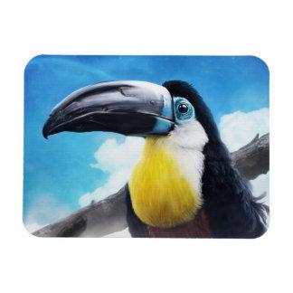 Toucan en la pintura tropical digital del pájaro d imán rectangular
