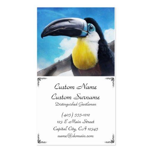 Toucan en la pintura tropical digital del pájaro d plantillas de tarjetas de visita