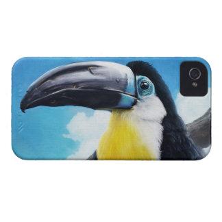 Toucan en la pintura tropical digital del pájaro iPhone 4 funda