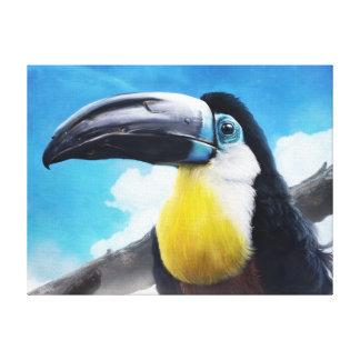 Toucan en la pintura tropical digital del pájaro impresiones en lona estiradas