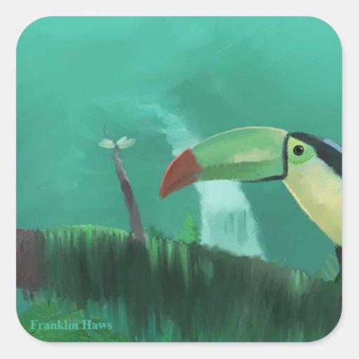 Toucan en la selva tropical pegatina cuadrada