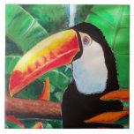 Toucan Exotic Wildlife Bird Portrait Tile Artwork