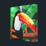"""Toucan Exotic Wildlife Bird Wrapped Canvas Art<br><div class=""""desc"""">Toucan Exotic Wildlife Bird Wrapped Canvas Art from an original painting by Artist Rick Short of a Toucan resting in its native South American Jungle Habitat. Copyright Rick Short,  all rights reserved.</div>"""