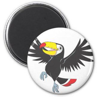 Toucan feliz imán redondo 5 cm