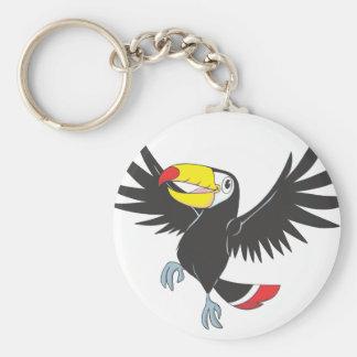 Toucan feliz llavero redondo tipo pin