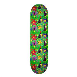 Toucan flower butterfly skateboard
