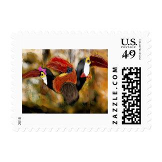 Toucan-Hornbill Family Portrait Postage