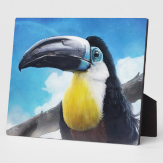 Toucan in Misty Air digital tropical bird painting Plaque