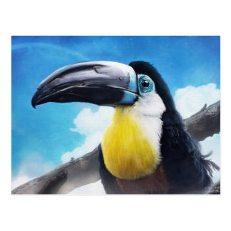 Toucan in Misty Air digital tropical bird painting Postcard