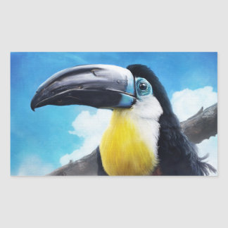 Toucan in Misty Air digital tropical bird painting Rectangle Sticker