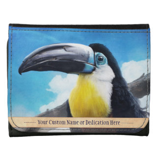 Toucan in Misty Air digital tropical bird painting Tri-fold Wallet