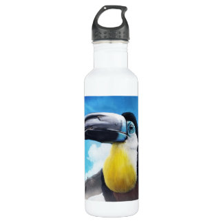 Toucan in Misty Air digital tropical bird painting Water Bottle