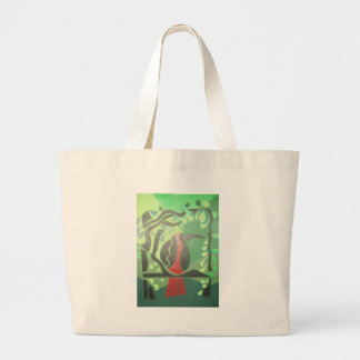 toucan in red & green canvas bags
