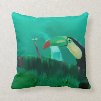 Toucan in the Rainforest Throw Pillow