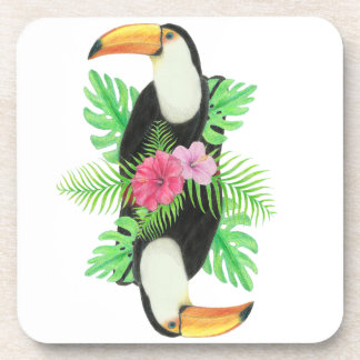 Toucan in Tropical Leaves Beverage Coasters