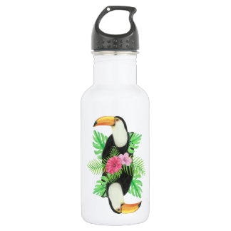 Toucan in Tropical Leaves 18oz Water Bottle