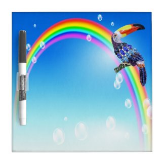 Toucan Jewels & Rainbow Dry Erase Board