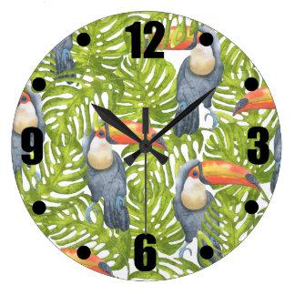Toucan Jungle Bird Trees Pattern Large Clock
