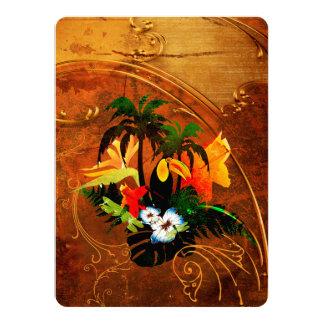 """Toucan lindo con las flores invitación 5.5"""" x 7.5"""""""