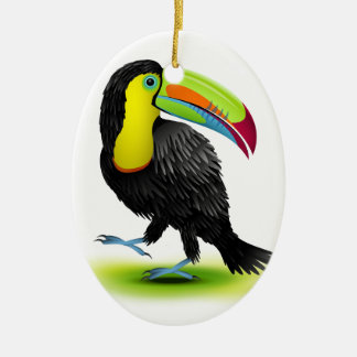 Toucan Double-Sided Oval Ceramic Christmas Ornament