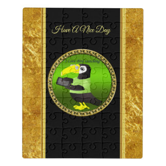Toucan parrots with computer and gold foil design jigsaw puzzle