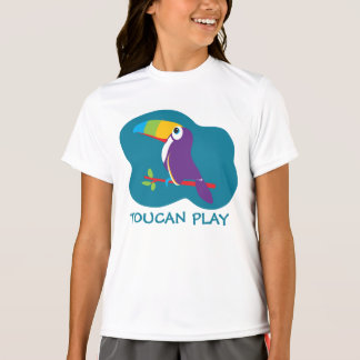 Toucan play bird graphic teal girls top