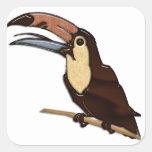 Toucan talló de maderas tropicales calcomanías cuadradass personalizadas