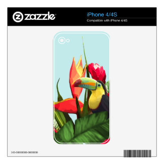 Toucan Tropical Banana Leaves Bouquet iPhone 4S Skin