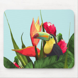 Toucan Tropical Banana Leaves Bouquet Mouse Pad
