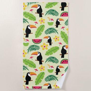 Beach Themed Toucan Tropical Summer Pattern Beach Towel