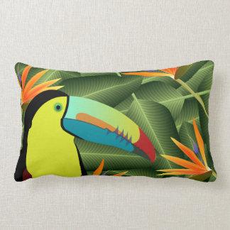 Toucan vibrante y aves del paraíso cojín