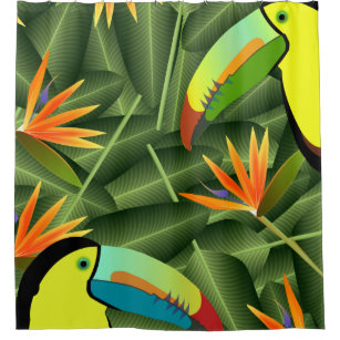 Toucans And Birds Of Paradise Shower Curtain