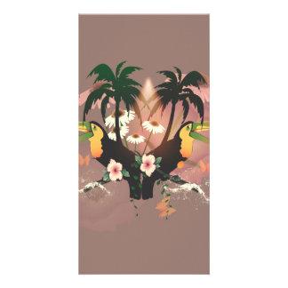 Toucans divertidos con la palma tarjetas personales con fotos