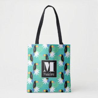 Toucans en monograma del trullo el   bolsa de tela